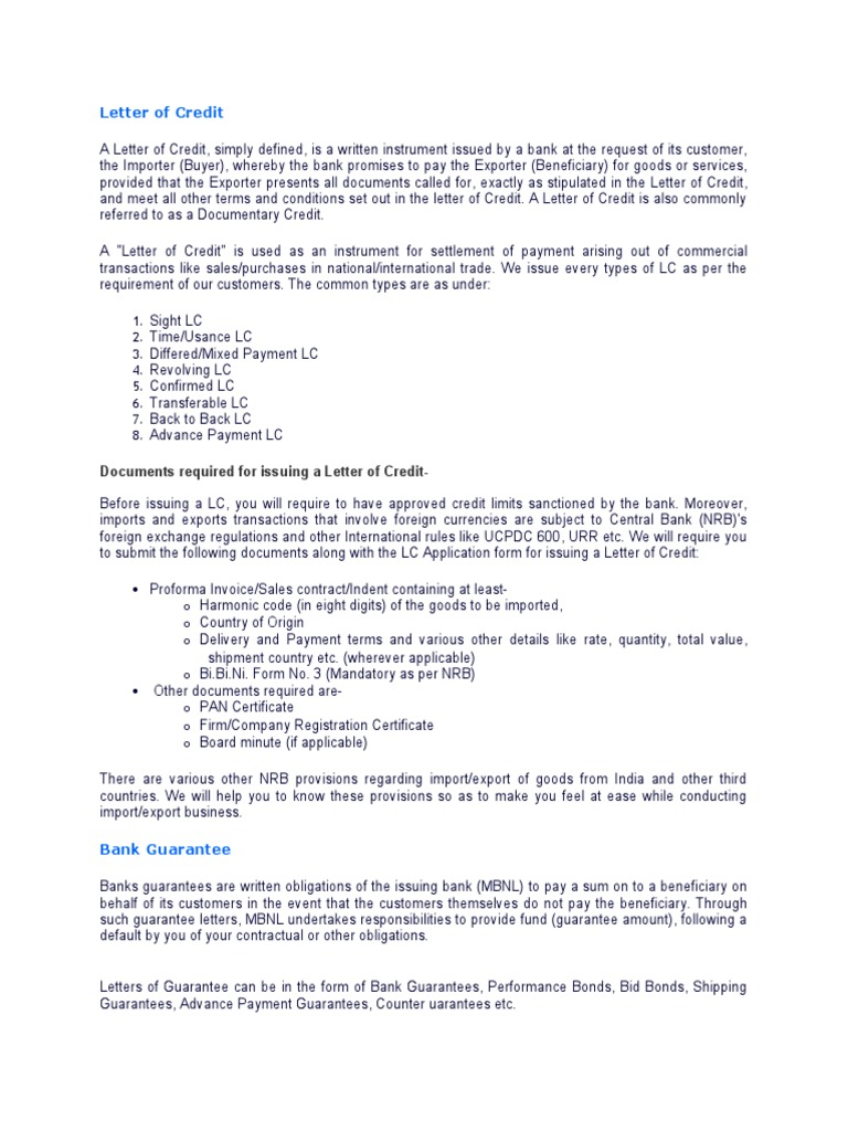 Letter Of Credit And Bank Guarantee Letter Of Credit Guarantee
