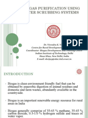 Biogas Purification using Water Scrubbing Systems_Dr VK Vijay, IIIT