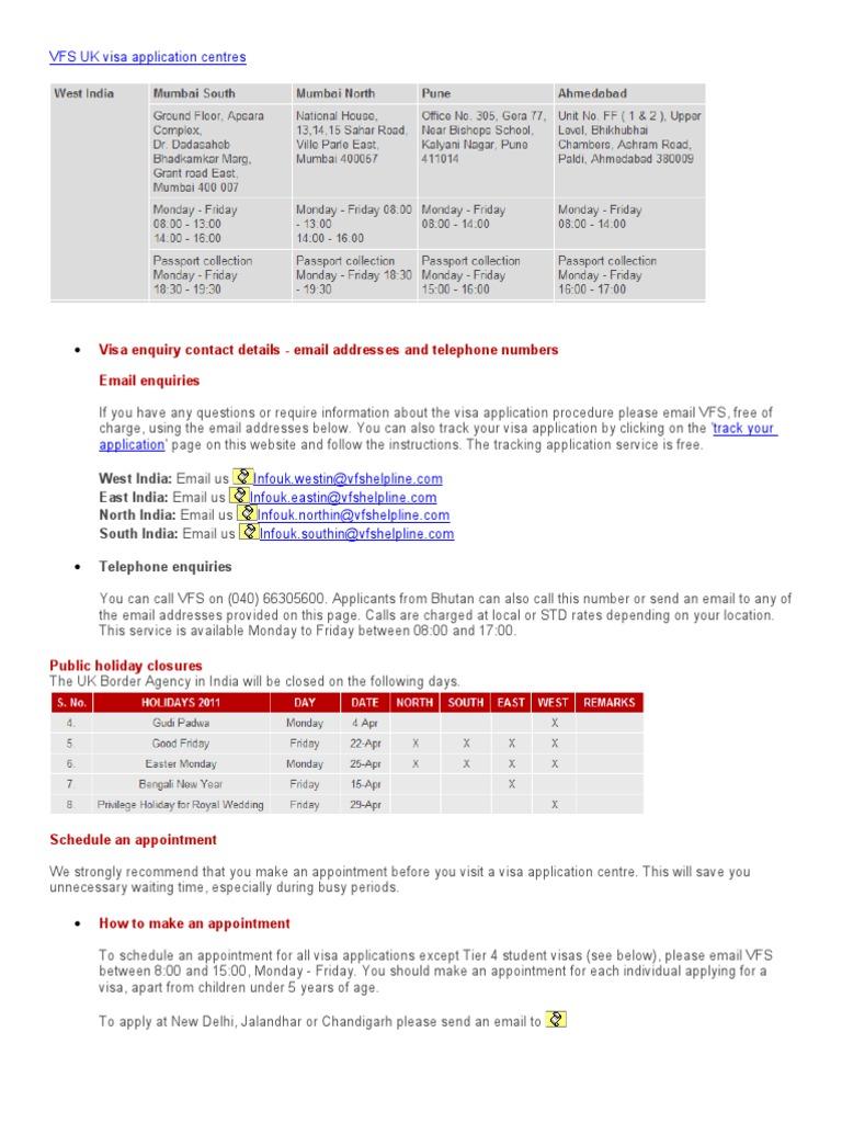 VFS UK visa application centres | Travel Visa | Government