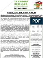 Plymouth Raiders Supporters Club Newsletter - March 2011