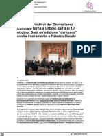 Il Festival del Giornalismo Culturale torna a Urbino dall'8 al 10 ottobre con un'edizione Dantesca - Pu24.it, 16 agosto 2021