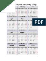 HK Calendar for 2010