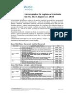 Intreruperi Programate in Zona Muntenia 16.08.2021 - 22.08.2021