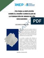 1C - Aportes para la reflexion diseño curricular formación de grado educadores. Docum BORRADOR 19 07 21