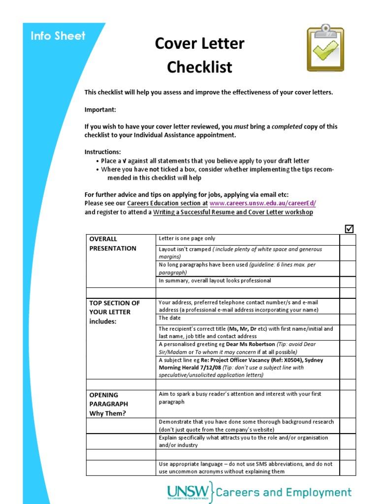 Info Sheet - cover letter checklist   Résumé   Acronym
