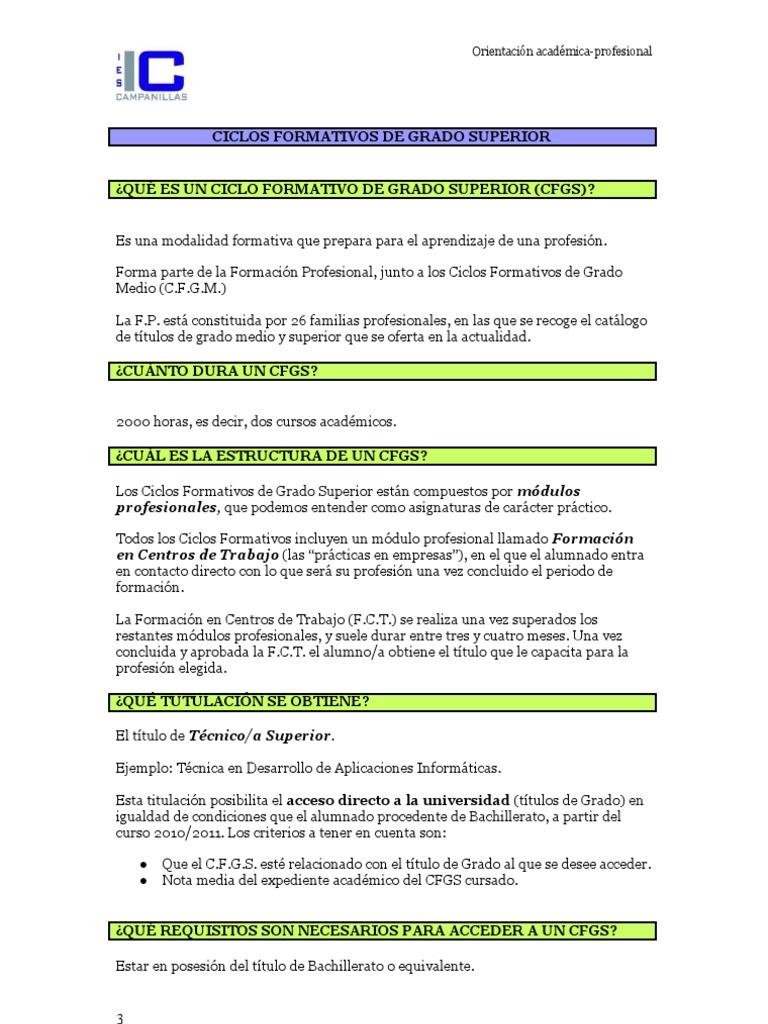 Ciclos Formativos De Grado Superior Desarrollo Profesional