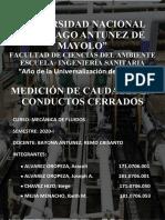 MEDICIÓN DE CAUDALES EN CONDUCTOS CERRADOSss