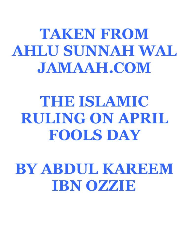 Islamic Ruling On April Fools Day   God In Islam   Muhammad