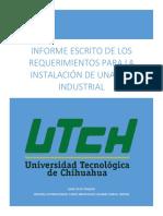 Informe escrito de los requerimientos para la instalación de una red industrial