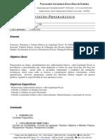 Plano de Ensino Legislação Fiscal 3SB 2011