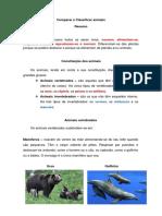 Comparar e Classificar animais - Resumo