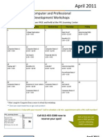 April 2011 WORKSHOPS & NEWSLETTER