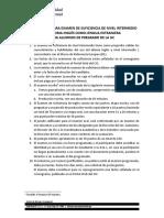 Información Para Examen de Suficiencia de Nivel Intermedio Pregrado UC - InGLÉS