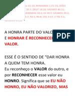 2º HONRAR A DEUS (APRENDENDO A HONRÁ-LO)