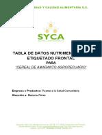 Tablas de Datos Nutrimentales