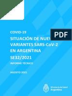 SITUACIÓN DE NUEVAS VARIANTES SARS-CoV-2 EN ARGENTINA SE32/2021