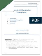 Génotoxicité Mutagénèse Tératogenèse