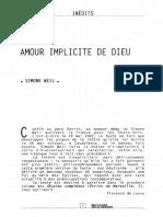 Amour Implicite de Dieu- Simone Weil