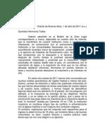 Carta del Gran Maestre a miembros de la Orden - Abril 2011
