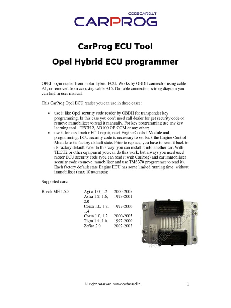 carprog opel ecu programmer user manual | opel | transportation engineering