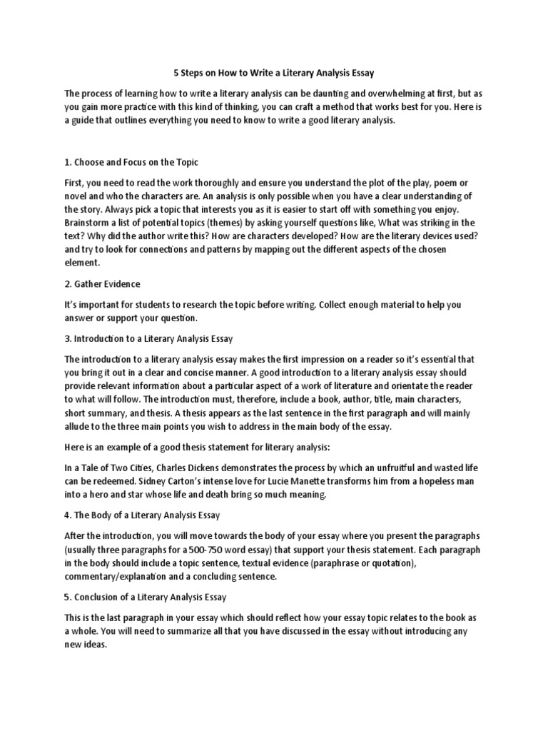 17 Steps on How to Write a Literary Analysis Essay  PDF  Essays