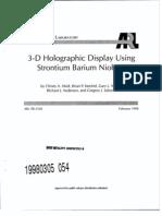 ARL 3-D holographic modeling using barium strontium niobate
