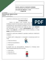 AVALIAÇÃO DE CIÊNCIAS.