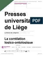 La théorie des catégories - La corrélation logico-ontologique dans la phénoménologie transcendantale de Husserl - Presses universitaires de Liège