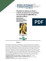 Atividade da redutase do nitrato e acúmulo de prolina livre em genótipos de soja transgênica (BRS-RR) sob deficiência hídrica