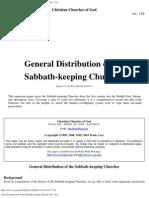 General Distribution of the Sabbath-keeping Churches (No. 122)