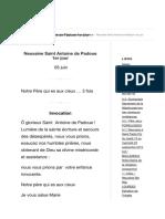 Neuvaine Saint Antoine de Padoue Causes Des Désespérées 1er Jour