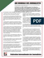 La Charte d'éthique mondiale des journalistes de la FIJ