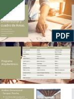 Programa Arquitectónico, Análisis Dimensional y cuadro de