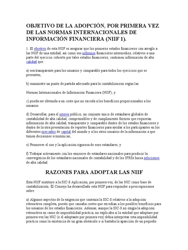 Guia de la NIIF 1 OBJETIVO DE LA ADOPCIÓN