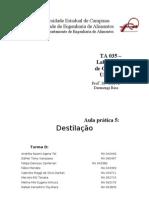Relatório destilação