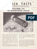 NASA Facts Explorer XVI the Micrometeoroid Satellite