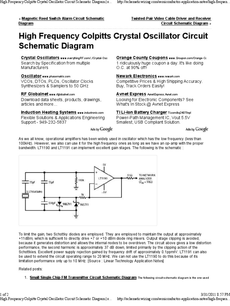 High Frequency Colpitts Crystal Oscillator Circuit Schematic Diagram Hartley Basic Schematicwiring Electronic Operational Amplifier