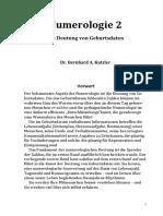 Die numerologische Analyse – statischer Teil - Bernhard Kutzler