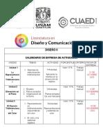 CALENDARIO DE ACTIVIDADES UNAM