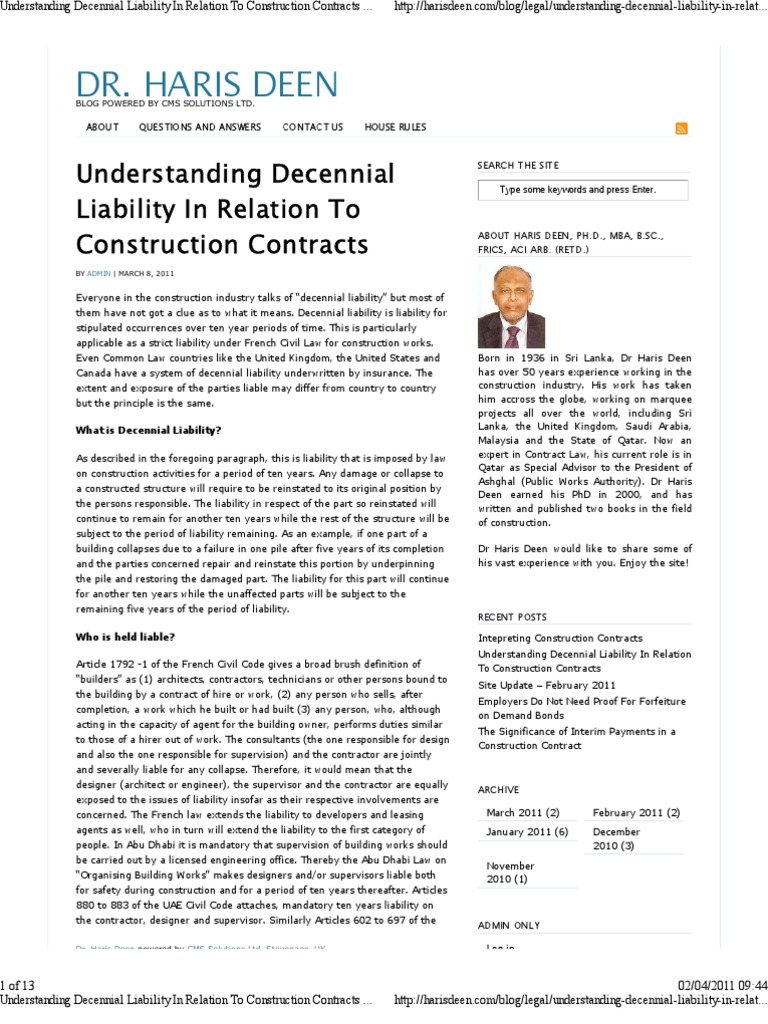 Marvelous Understanding Decennial Liability In Relation To Constru | Architect |  Ownership