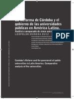 Reeforma de Cordoba y El Gobierno de Las Universidades Publicas