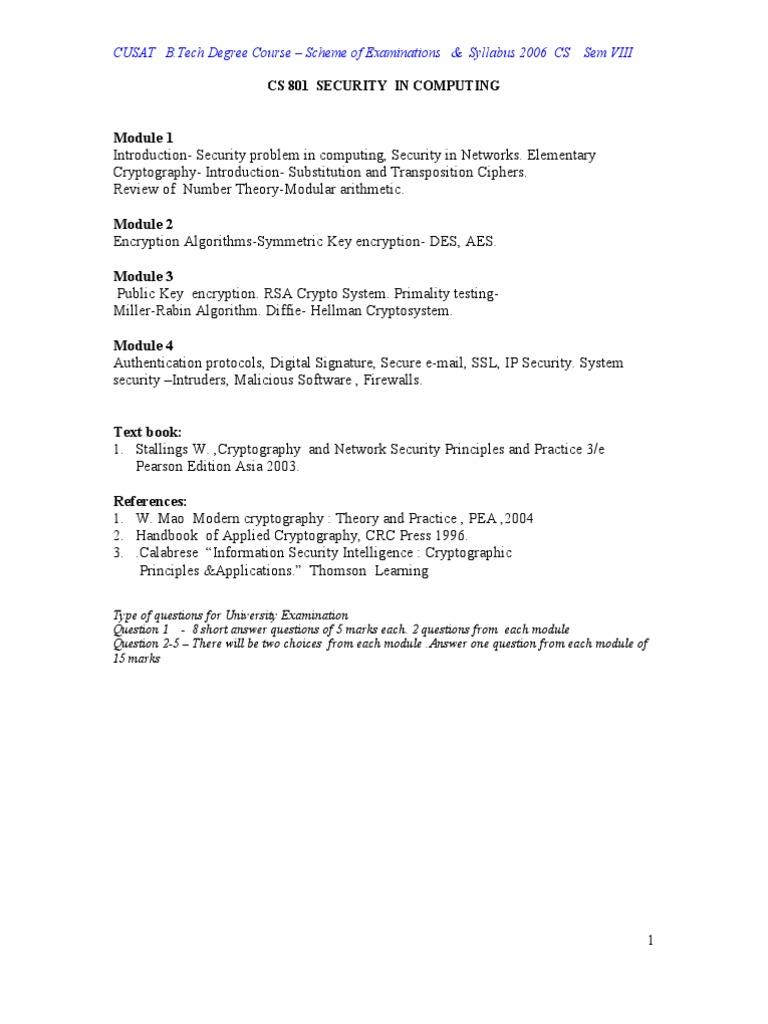 Computer Science 2006 Sem VIII | Cryptography | Bioinformatics
