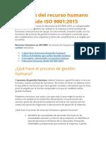 Gestión del recurso humano desde ISO 9001