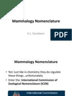Mammalogy Nomenclature