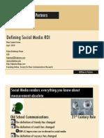 Defining Social Media ROI New Comm 2010 Read-Only