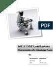 ME2135E Fluid Mechanics Lab -1 Centrifigual Pump