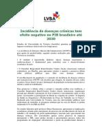 Incidência de doenças crônicas tem efeito negativo no PIB brasileiro até 2030