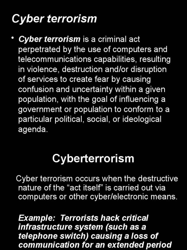 cyber terrorism essay Check this cyber terrorism free sample essay from essaysservicecom or buy a custom written paper.