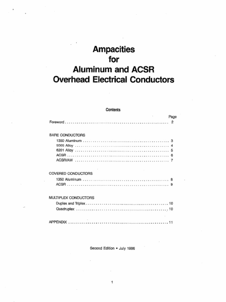 Ampacities aac acsr overhead conductors greentooth Gallery