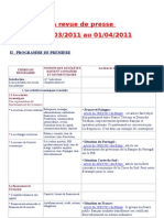 La revue de presse de terminale du 28 mars au 1 avril 2011